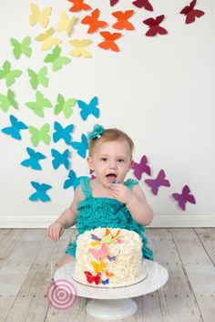 Rainbow butterfly cake smash. One year portrait. Photos by Just Shoot Me Photography Inc. Abbotsford, BC