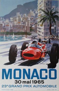 Original+vintage+poster+Grand+Prix+de+Monaco+F1+1965+-+Michael+TURNER