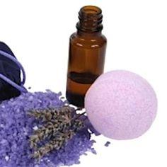 lavender bath bombs: ● 3 parts sodium bicarbonate ● 1 part citric acid ● 1 part Epsom salts ● 10ml sweet almond oil w/ 10 drops lavender oil ● dried lavender ● bath bomb mold