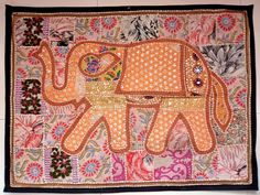 HANDMADE ELEPHANT BOHEMIAN PATCHWORK WALL HANGING EMBROIDERED TAPESTRY INDIA E95…