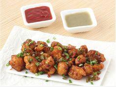 GOBI MANCHURIAN DRY [Deep fried cauliflower balls cooked with onion, capsicum in soy & chilli sauce] Nawab Sahab Restaurant