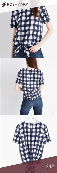 Madewell Plaid Button-Back Tie Top S A tie-front top with buttons all the way down the back. Approximately 19 inches from underarm to underarm, 19 inch length.  (F-Brahms)  Thank you for visiting my closet! Madewell Tops