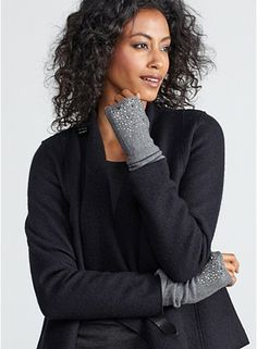 Grey glovettes from EILEEN FISHER's Looks We Love. How to Wear the Fall Trends.
