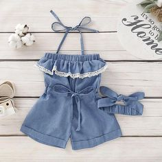 Girls denim romper with lace trimming! Little Girl Outfits, Kids Outfits, Cute Outfits, Trendy Baby Clothes, Baby Kids Clothes, Baby Girl Fashion, Kids Fashion, Kids Dress Wear, Girl Dress Patterns