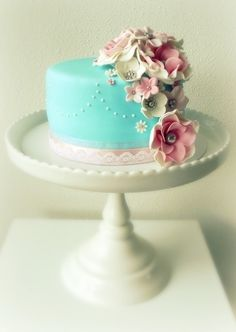 Beautiful Little Blue Cake with Sugar Flowers
