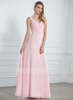 A-Line/Princess V-neck Floor-Length Ruffle Zipper Up Regular Straps Sleeveless No Blushing Pink Spring General Plus Chiffon Bridesmaid Dress