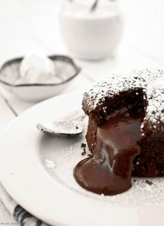 Today, July is Chocolate Day! Chocolate Molten Cake - It's simple, delicious and it's only takes about 12 to 15 minutes depending on the size. Molten Cake, Chocolate Lava Cake, Chocolate Desserts, Chocolate Fondant, Chocolate Pudding, Chocolate Volcano, Chocolate Heaven, Flourless Chocolate, Chocolate Chocolate