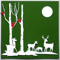 Die cut Shapes of Winter Wonderland Deer with Tall Birch Tree,  Moon, Birds, Grass and Woodland Fawn.