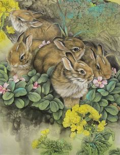 Realistic and Charming Works of Chinese Artist Zhe Li, фото № 30 Chinese Art, Chinese Zodiac, Chinese Culture, Wildlife Paintings, Rabbit Art, Bunny Art, Woodland Creatures, Pretty Art, Cool Artwork
