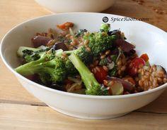 Broccoli with Wheat Berries and Eggplants