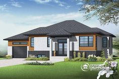 Discover the plan - Lotus 3 from the Drummond House Plans house collection. Affordable Contemporary 2 bedroom split level house model with one-car garage, open concept, kitchen island. Total living area of 1223 sqft. Modern Bungalow House Design, Bungalow House Plans, Modern House Plans, Dormer Bungalow, Bungalows, Affordable House Plans, Drummond House Plans, Modern Contemporary Homes, Contemporary Windows