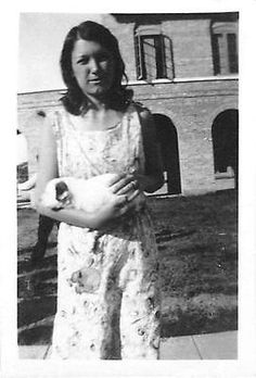 Photograph Snapshot Vintage Black and White: Mom Holding Newborn Baby 1940's