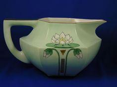 "Paroutaud Freres (P&P) La Seynie Limoges Arts & Crafts Lotus/Pond Lily Design Cider/Lemonade Pitcher (Signed ""Mae Miller""/Dated 1924)"