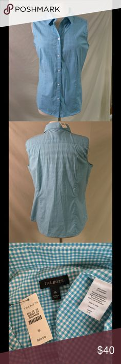 Talbots Blue Sleeveless Button Up Beautiful blue colored sleeveless shirt from Talbots! Tags still attached. Has 2% spandex in it so it's a little stretchy. Talbots Tops Button Down Shirts