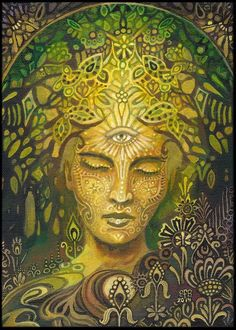 Sophia Goddess of Wisdom Poster Fine Art Print Pagan Mythology Art Nouveau Psychedelic Green Forest Goddess Art Arte Chakra, Éphémères Vintage, Goddess Art, Green Goddess, Goddess Pagan, Goddess Tattoo, Mother Goddess, Psy Art, Mystique