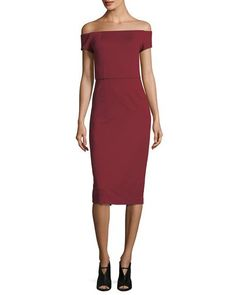 Shop Off-the-Shoulder Ponte Sheath Cocktail Dress from Trina Turk at Neiman Marcus Last Call, where you'll save as much as on designer fashions. Slit Dress, Bodycon Dress, Fall Wedding Attire, Dresses For Work, Formal Dresses, Trina Turk, Neiman Marcus, Off The Shoulder, Dress Outfits
