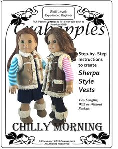 Chilly Morning Sherpa Vest for American Girl by CrabapplesBoutique