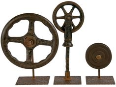 Set Of Three Metal Industrial Objects On Iron Stands - Relque  www.relique.com