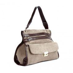 supple suede shoulder bag in taupe