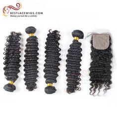 4Pcs Virgin Peruvian Hair Weaves Deep Wave With Silk Top Closure | www.BestLaceWigs.com