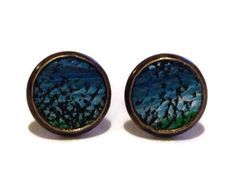 Blue ocean ombre Leather Stud Earrings Leather by MullaneInk, $15.00