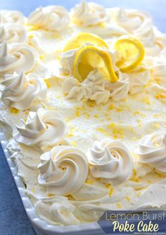This oh-so-simple and delightful Lemon Burst Poke Cake is slathered with lemon pudding then topped with a dreamy homemade whipped lemon cream cheese frosting. There's only one way to describe the bur (Poke Cake Recipes) Brownie Desserts, Oreo Dessert, Lemon Desserts, Lemon Recipes, Köstliche Desserts, Sweet Recipes, Dessert Recipes, Lemon Cakes, Lemon Pudding Recipes