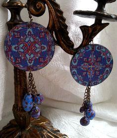 Earrings Dreamcatcher  Painted earrings  Wood by DecorElegancy