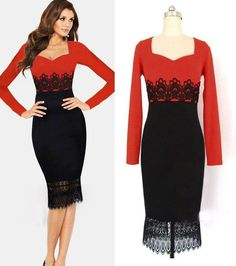 New Fashion Elegant Celeb Square Collar Long Sleeve Knee-length Lace  Temperament Charm Bodycon Party. Casual Dresses ... 18533b09375f