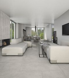 Porcelain stoneware wall/floor tiles with concrete effect CEMENTO - Casalgrande Padana