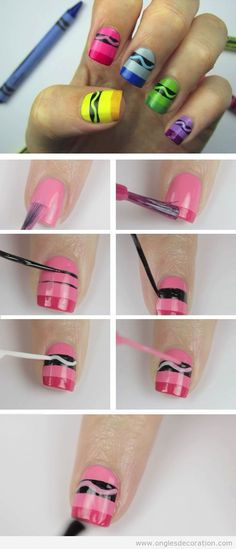 Crayon Nail Art Click Pic for 22 DIY Back to School Nails for Kids Awesome Nail Art Ideas for Fall Nail Art Diy, Diy Nails, Cute Nails, Trendy Nails, Diy Beauty Nails, Nail Art Hacks, Diy Art, Beauty Makeup, Beautiful Nail Art
