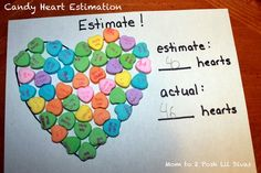Candy Heart Math for Valentines Party - could add fractions for higher math kids