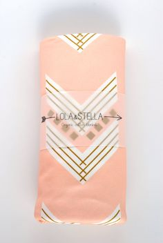 Organic baby blanket in peach and gold chevrons by LolaandStella