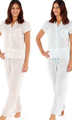 42489be7e7 Lady Selena Suzie Ditsy Floral Print Poly Cotton Pyjamas
