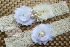 Wedding Garter Garter Belt wedding garter set bridal garter Lace garter Ivory…