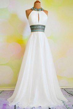 prom dresses,white a-line rhinestone backless long prom dress, evening dresses