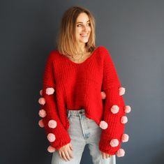 Lauren Aston Designs : Chunky knit pompom jumper available as a ready made swea. Lauren Aston Designs : Chunky knit pompom jumper available as a ready made sweater or knitting kit Jumper Knitting Pattern, Jumper Patterns, Cardigan Pattern, Chunky Knit Cardigan, Oversized Cardigan, Chunky Knits, Super Chunky Yarn, Knitting Kits, Knitting Projects
