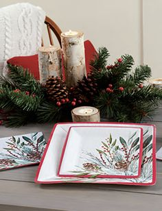 HOLIDAY PINE SPRIG PAPER TABLEWARE by Design Design Design Design, Pine, Gift Wrapping, Entertaining, Tableware, Holiday, Gifts, Style, Pine Tree