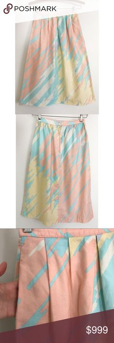 """Vintage 80's Abstract Pastel Print Cotton Skirt Cool vintage 80's cotton pastel skirt in abstract pattern. Pleating at waistline, zipper in back with button closure, side pockets. Unlined. A couple tiny marks as pictured and some slight color bleeding near zipper as pictured.  Measurements: 24"""" Waist  42"""" hips 27"""" Length Vintage Skirts"""