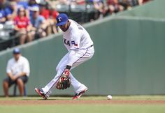 CrowdCam Hot Shot: Texas Rangers shortstop Elvis Andrus cannot field a ground ball during the first inning against the Oakland Athletics at Rangers Ballpark in Arlington. Photo by Kevin Jairaj