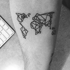 """Geometric world map tattoo!  Thank you guys for 300K! #inkspiringtattoos"""