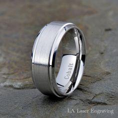 Personalized Inside Engraving Cobalt Wedding Band Ring 8mm Black Brushed Center Flat Two Tone Ring
