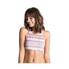 Roxy Women's Sea Stripe Halter Crop Bikini Top ($25) ❤ liked on Polyvore featuring swimwear, bikinis, bikini tops, halter crop top bikini, halter swimsuit tops, swim suit tops, tankini swim tops and crop bikini top