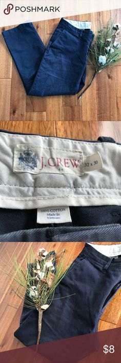 J. Crew blue chinos 32/30 GUC straight fit These gently used blue J. Crew chinos are the perfect addition to any working professional's closet! There is some natural wear on the back pocket from my husband's wallet as shown in the fourth picture. Other than that, there are no rips, stains, or holes. Bundle with other items in my closet for the best deal! J. Crew Pants Chinos & Khakis