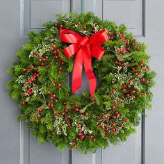 This classic wreath gets a modern makeover with colorful berries, live variegated boxwood greens, and a matching bow. Now is the perfect time to order a fresh balsam fir wreath for your holidays. Shipping is free!