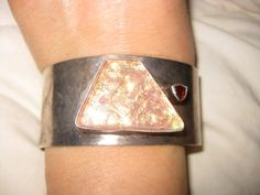 Unusual Artist Made STERLING Fused Glass CUFF BRACELET