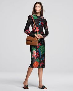 #Valentino Lace & Brocade Long-Sleeve Dress, Black/Multi