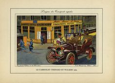 Original Vintage Automobile Color Lithographs by RarePostCards