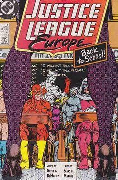 Justice League Europe Bart Sears Cover & Pencils, J. DeMatteis & Keith Giffen Story, Vivian D'Aramis / Crimsom Fox (Cameo) (First appearance) Rare Comic Books, Comic Books For Sale, Comic Book Covers, Comic Book Publishers, Comic Book Artists, Justice League Pictures, Teacher Comics, Legion Of Superheroes, Classic Comics