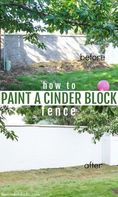 Painting Cinder block Fixing andold cinder block wall/fence - patch and painting with Drylok Remodel Painting Concrete Walls, Concrete Block Walls, Concrete Patio, Concrete Fence Wall, Concrete Furniture, Wooden Fence, Wooden Garden, Diy Fence, Backyard Fences