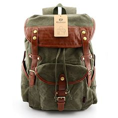 BLUBOON(TM)backpacks Vintage Leather Backpack Casual Canvas Hiking Backpack Rucksacks Travel Backpack with Large Capacity Bag for Hiking/School/ Etc (Army green) BLUBOON http://www.amazon.com/dp/B00UV9XE6W/ref=cm_sw_r_pi_dp_.Z75vb0V2ZFKW